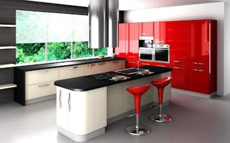 cocina moderna color rojo