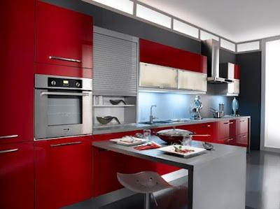 Cocinas modernas color rojo - Cocinas de color rojo ...