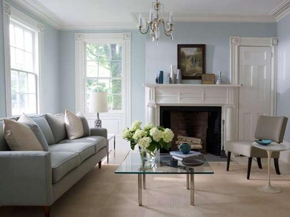 Salas en colores relajantes for Sky blue living room ideas