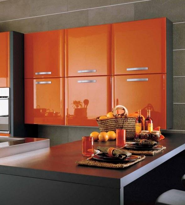 Cocinas modernas color naranja - Cocinas naranjas y blancas ...