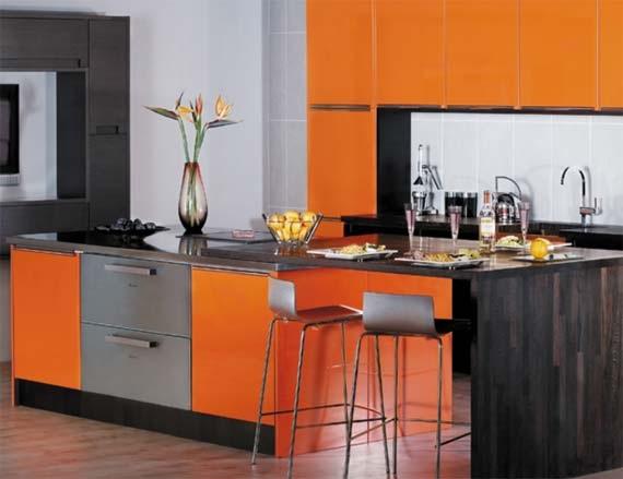 Cocinas modernas color naranja - Cocina de color ...