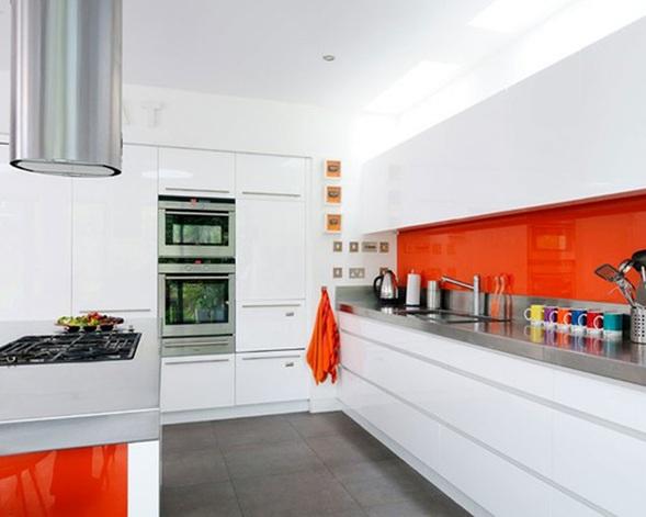 Cocinas modernas color naranja for Paredes de cocinas modernas
