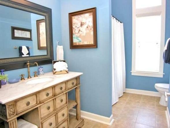 De Que Color Decorar Un Baño:es un buen complemento para el celeste del baño, los muebles en