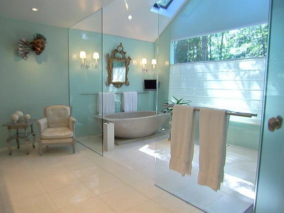 10 baños en color celeste