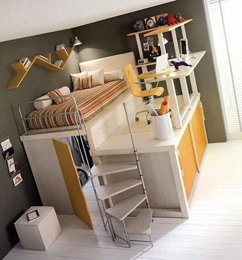 Dormitorios con camas loft para j venes ideas y fotos for Recamaras modernas para jovenes