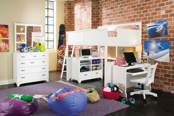 Dormitorios con camas loft para j venes ideas y fotos for Habitaciones con camas altas