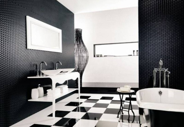 Baño Verde Con Blanco:Baños en Color Blanco y Negro
