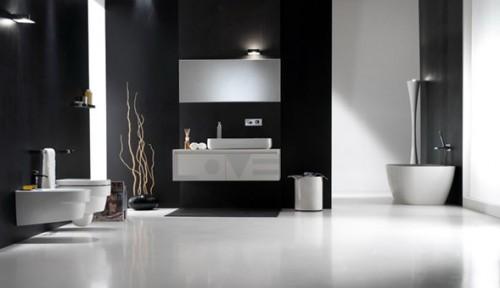 baño blanco y negro contemporáneo
