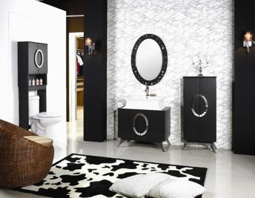 baño blanco y negro elegante