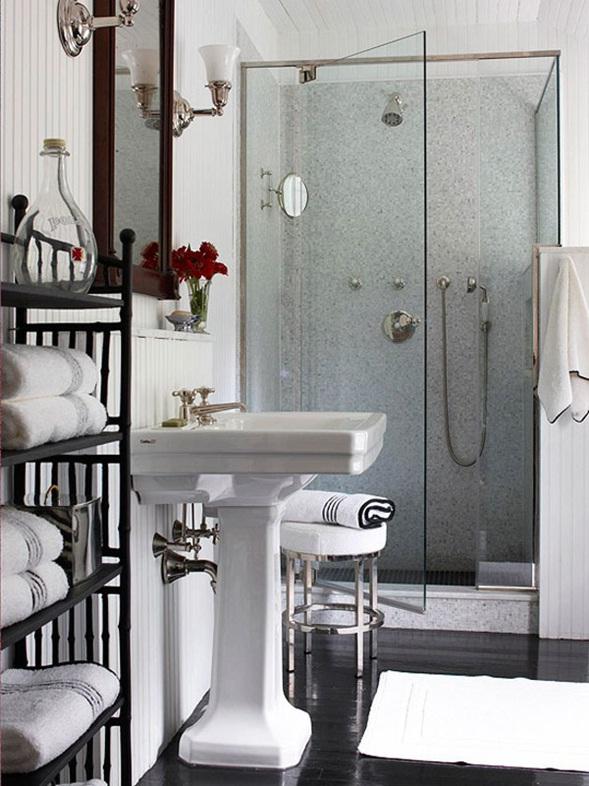 Ba os en color blanco y negro for Banos modernos y pequenos 2016