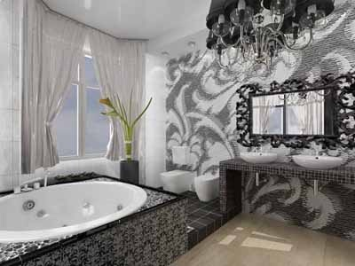 baño blanco y negro tina hidromasajes