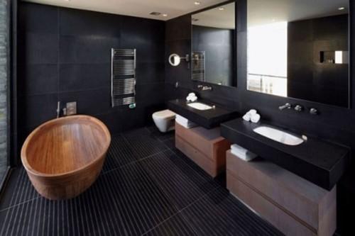 baño moderno color negro y madera