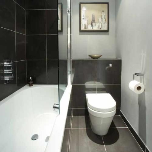 baño moderno en color gris