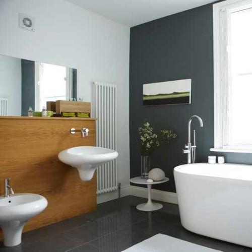 baño moderno en gris y blanco