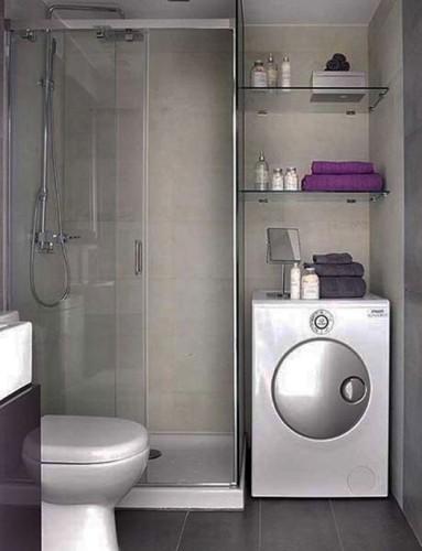 baño pequeño gris