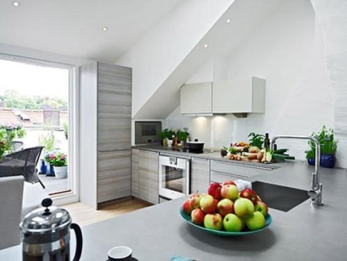cocina blanco y gris en L