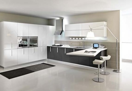 cocina blanco y negro moderna en L
