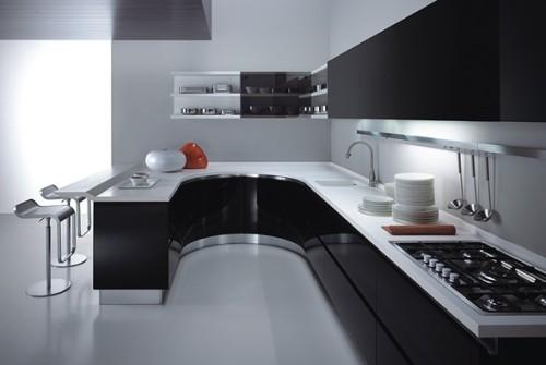 cocina blancoy negro moderna