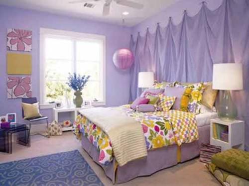 dormitorio lila acentos coloridos