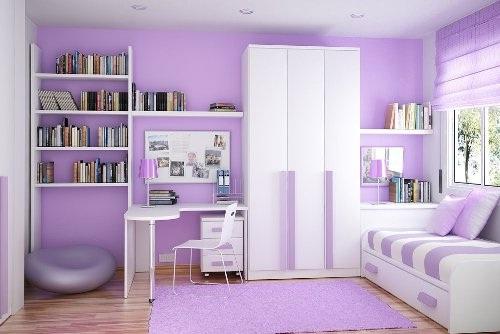 dormitorio pequeño lila