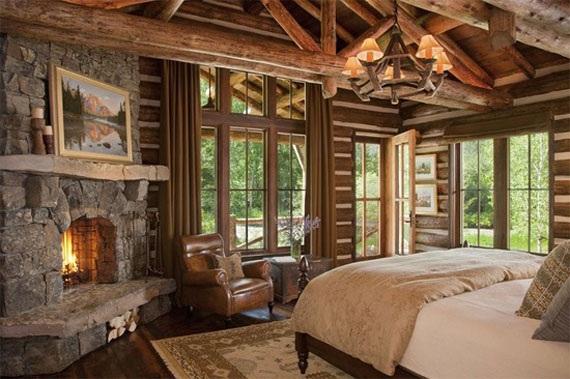 Baños Rusticos Para Cabanas:Log Cabin Master Bedroom Fireplace