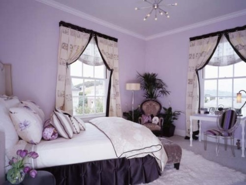 habitacion juvenil lila elegante