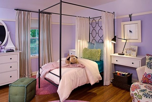 10 dormitorios para chicas en color lila for Recamaras rosas