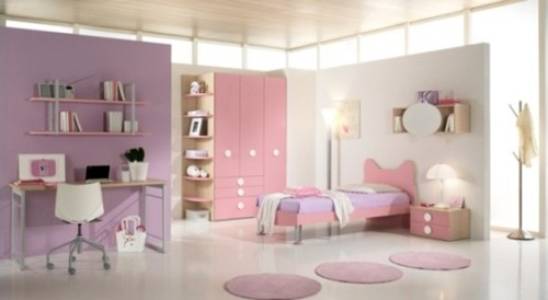 recamara moderna juvenil lila y rosa