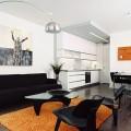 sala con sofas color negro pequeña