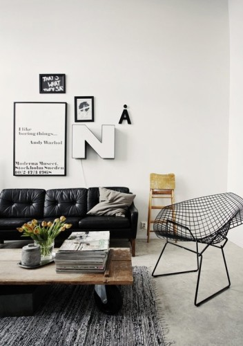 sala sofá de cuero negro
