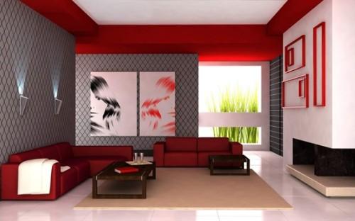 sala sofá de cuero rojo