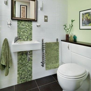 baño acentos verde olivo