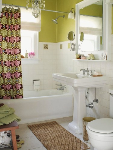 baño color blanco y verde