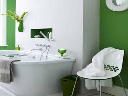 baño color verde y blanco