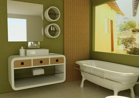Fotos ba os color verde for Accesorios bano verde