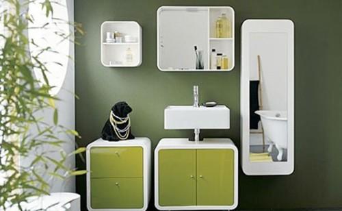 baño dos tonos de verde