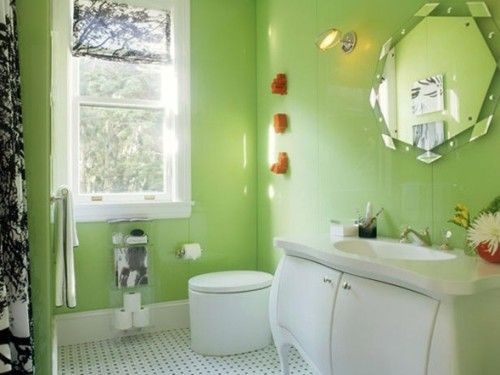 baño paredes verde manzana