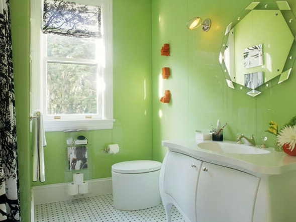 Baños Verde Con Beige:Estupendas Fotos de Baños en Color Verde