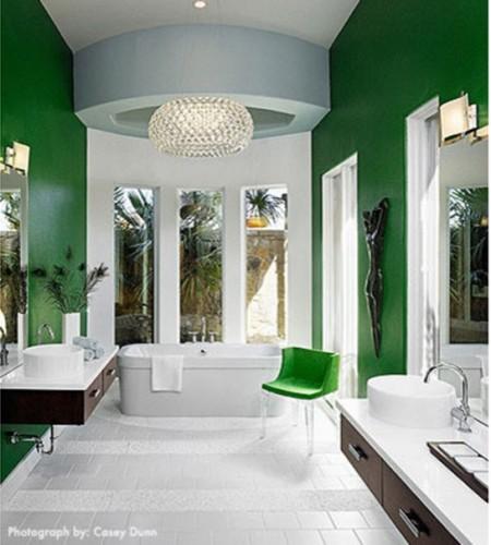 baño verde esmeralda