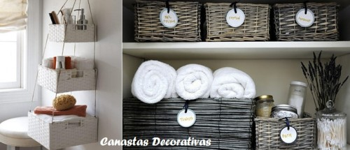 Ideas para organizar ba os peque os - Cestas decorativas ...