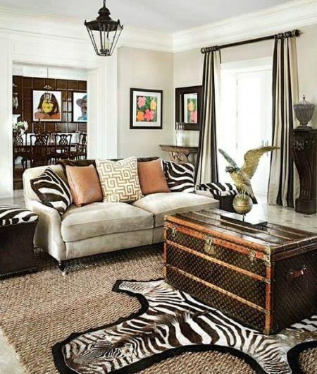 Salas decoradas con estampados de cebra for Muebles africa