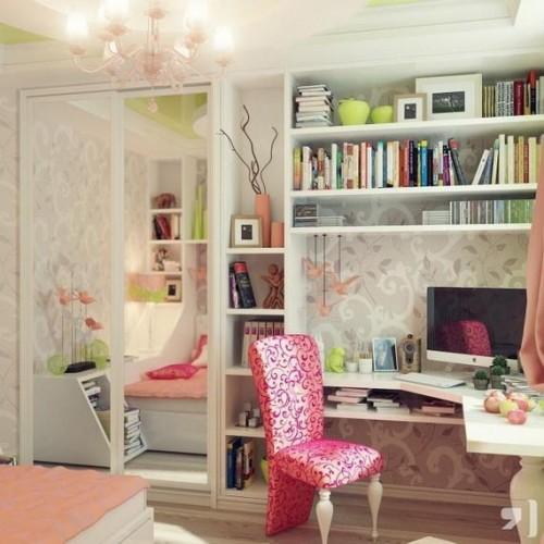 dormitorio con estudio femenino