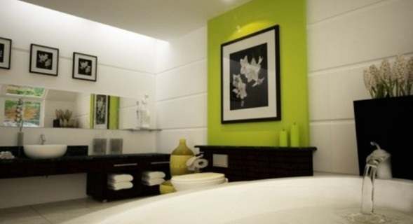 foto baño verde