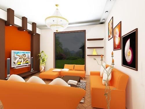 foto sala naranja moderna