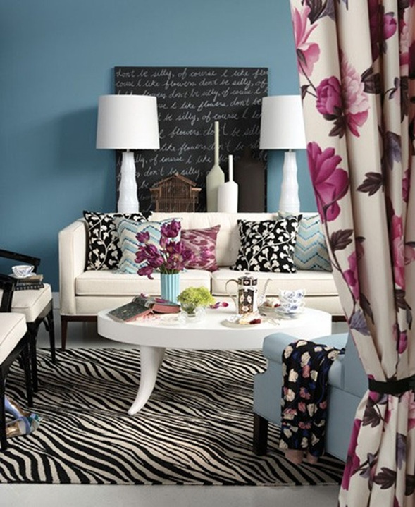 Salas decoradas con estampados de cebra - Alfombras de cebra ...