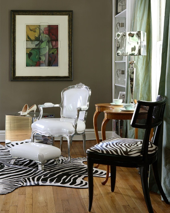 salas decoradas con estampados de cebra