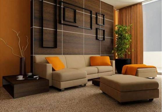 Salas con color naranja for Paredes de salas modernas