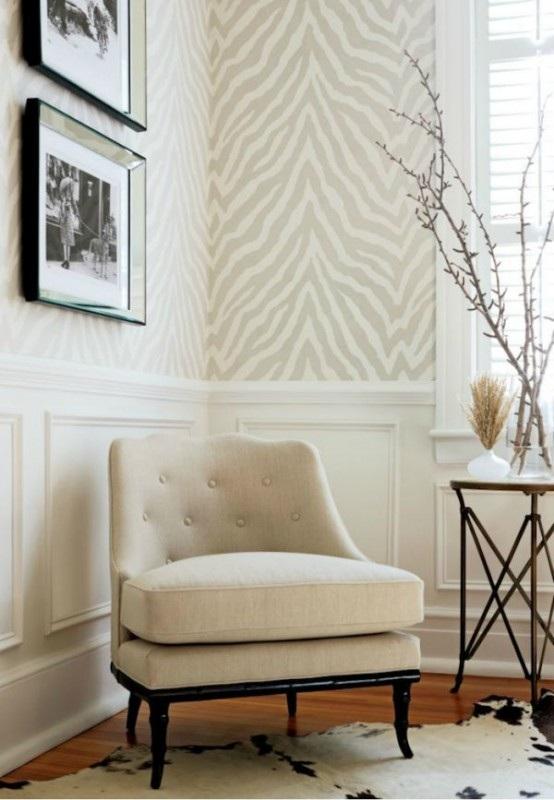 Salas decoradas con estampados de cebra for Fur wallpaper room