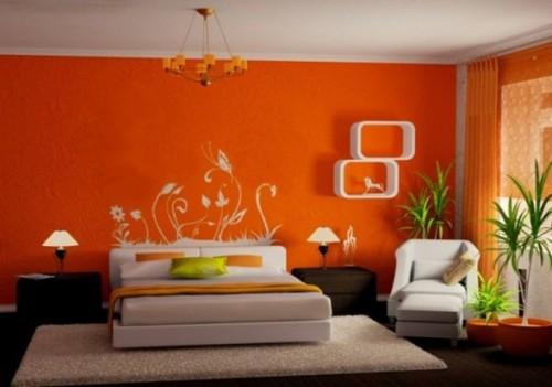 recámara-pared-naranja-fuerte