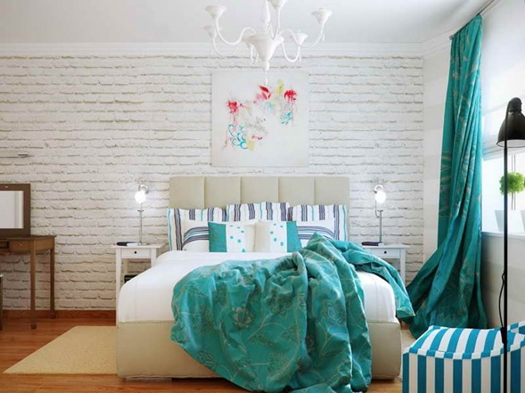 Dormitorios con color turquesa for Dormitorio turquesa